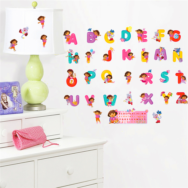 Wonderful Cute Dora Education Diy 26 Letters Wall Stickers For Kids Room Bedroom Wall  Art Decor Diy Decals