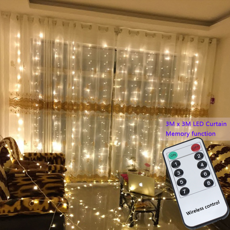 3x3m 300 Led String Fairy Lights Wedding Garden Party Led Curtain Decor Christmas Garlands Light