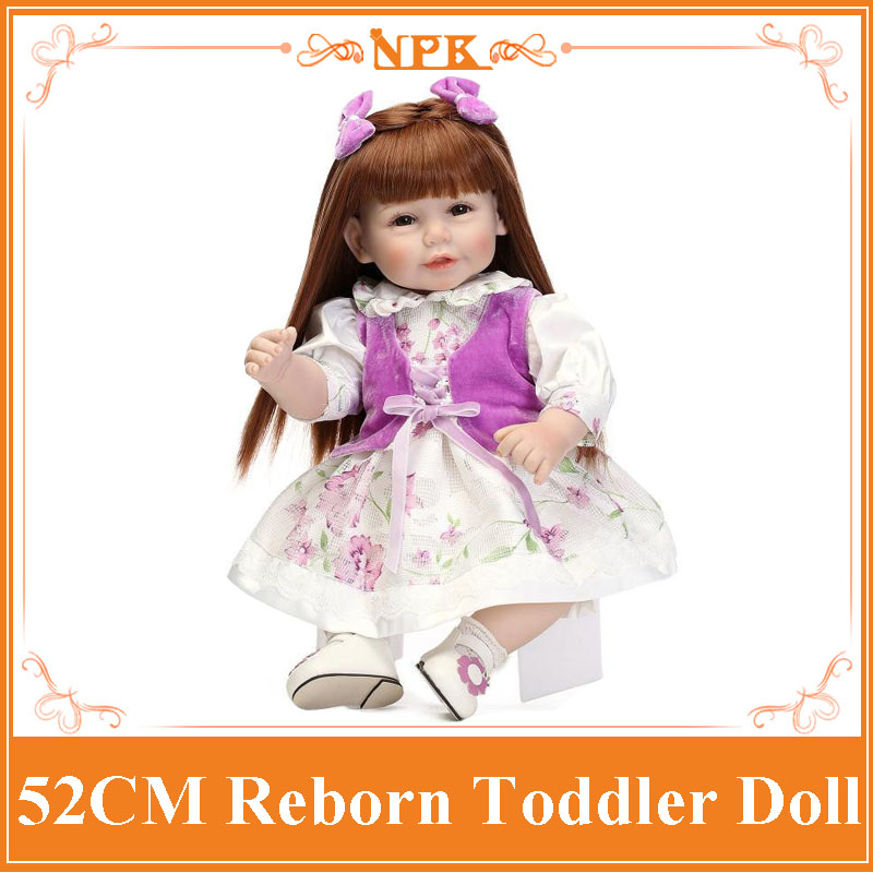 Top Seller 52cm 20'' Girl Reborn Toddler Doll Fashion Real Silicone Baby Doll Reborn With New Design Baby Doll Clothes Best Gift new year merry christmas gift 18 american girl doll with clothes doll reborn silicone reborn baby doll our generation doll