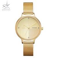 נשים יוקרה חדשות Shengke מותגים מפורסמים שעון זהב עיצוב אופנה צמיד שעונים גבירותיי נשים שורש כף יד שעונים Relogio Feminino