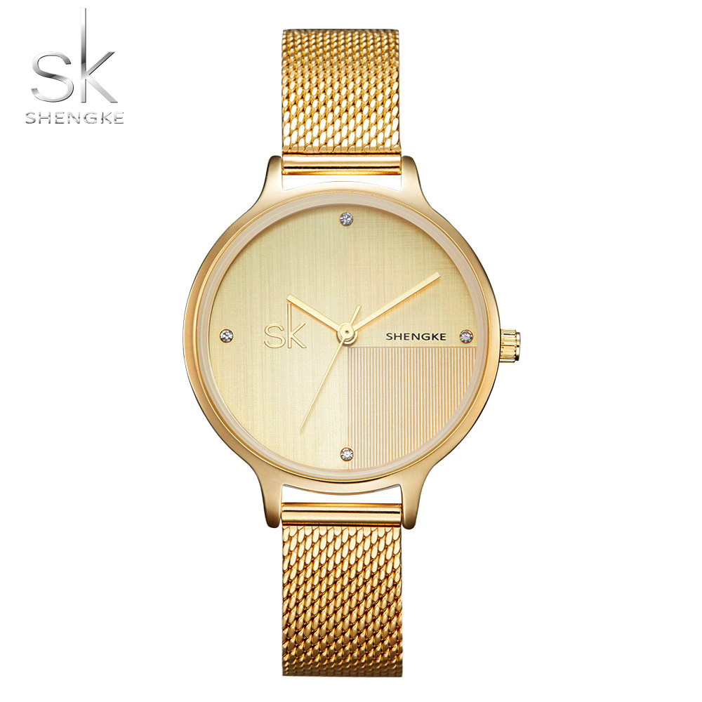 Shengke New Luxury Women Watch Famous Brands Gold Fashion Design Bracelet Watches Ladies Women Wrist Watches Relogio Feminino 2016 new ladies fashion watches decorative grape no word design gold watch stainless steel women casual wrist watch fd0107