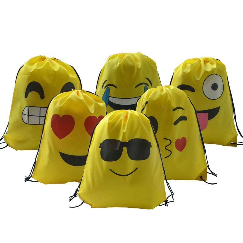 Funny Emoticon Waterproof Swimming Storage Backpack Travel Shoulders Bag Storage Shoes Bag Water Sports Travel Portable Bag