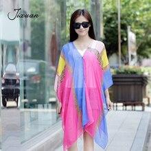 2018 Patchwork Button Fashion Womens Scarf Chiffon Beach Sun-Protective Clothing Women Summer Silk Pashmina Foulard Female