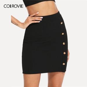 Image 3 - COLROVIE Black Solid Gold Button Front Bodycon Elegant Skirt Women 2019 Summer Korean Streetwear Mini Skirt Office Pencil Skirts