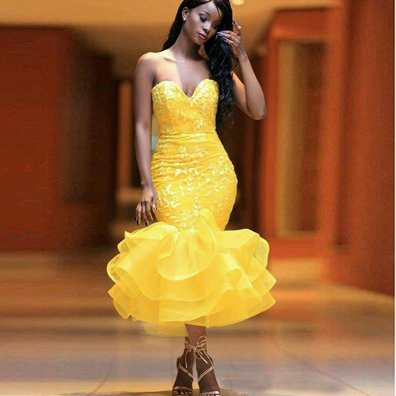 Sexy Yellow Cocktail Dresses Sweetheart Lace Applique Tea Length Ruffles Skirt Evening Dresses African Girl Prom Gowns