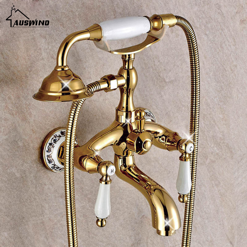 European Antique Bathroom Faucet Water Mixing Valve Copper Gold Bathtub Faucet Shower Set Wall Mounted Phone Handle Shower Head