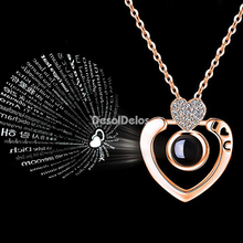 Romantic Love Memory Wedding Necklace Double Heart 100 languages I love you Projection Pendant Zircon Jewelry