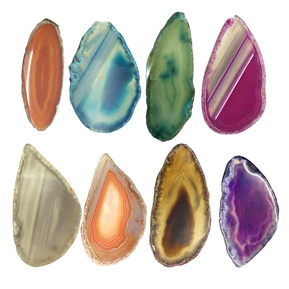 Agate Polished Irregular natural Crystal Slice Brazil Healing Stone Pendant