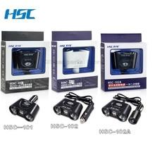 HSC черный, белый цвет 2.4a 12-24 В 120 Вт автомобиля Зарядное устройство Dual USB адаптер 2 гнездо автомобильного Авто-прикуриватели для телефона xiaomi со встроенным предохранитель