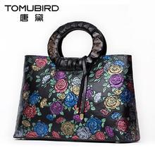 TOMUBIRD Superior cowhide Floral Collection Women's Genuine Leather Handle Handbag Tote with Adjustable Shoulder Strap