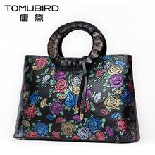 TOMUBIRD Superior cowhide Floral Collection Women's Genuine Leather Handle Handbag Tote with Adjustable Shoulder Strap