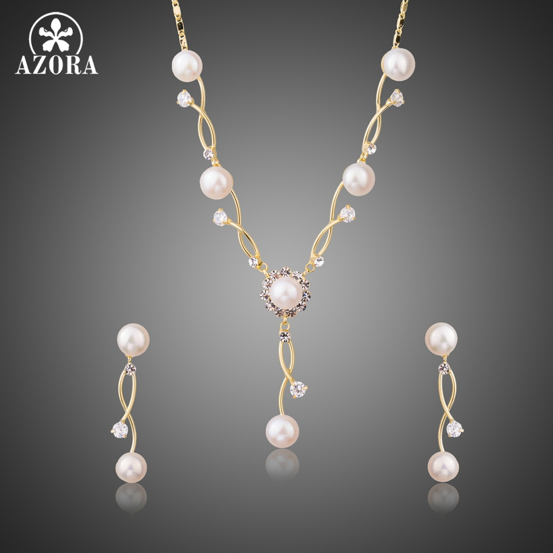 AZORA Gold Color Simulated Pearl Vines Set with Austrian Cryatal Vintage Engagement Earrings and Necklace Jewelry Sets TG0220