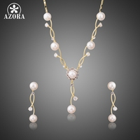 AZORA Gold Color Simulated Pearl Vines Set With Austrian Cryatal Vintage Engagement Earrings And Necklace Jewelry