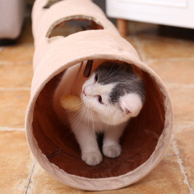 New Cat's Favorite!Luxury Chamois Pet Cat Tunnel Crazy Shake Hanging Ball Expandable Cat Long Tunnel Kitten Play Toy Collapsible luxury cat tunnel Luxury Cat Tunnel-Suede Material,Soft And Durable-Free Shipping HTB1T7BgeTnI8KJjy0Ffq6AdoVXag
