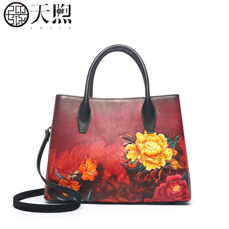 Pmsix 2019  New genuine leather bag top Cowhide women handbags fashion cowhide embossing Luxury  tote women leather shoulder bagPmsix 2019  New genuine leather bag top Cowhide women handbags fashion cowhide embossing Luxury  tote women leather shoulder bag