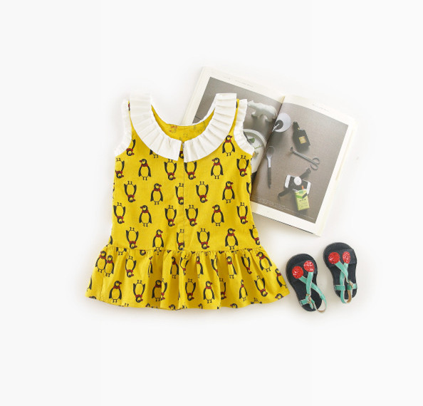 0-3 YEARS 2018 INS HOT KIDS DRESSES GIRLS FASHION DRESSES penguin pattern kids dresses for girls baby girl clothes girls clothin