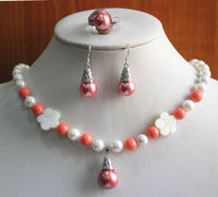 free shipping 07603 Pink/Orange Pearl Necklace Earring Ring Jewelry Set (A0513)