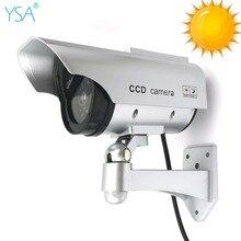 Солнечная водостойкая поддельная камера видеонаблюдения с мигасветодио дный светодиодным манекеном камера наблюдения на открытом воздухе в помещении Солнечная энергия безопасность моделирование Cam