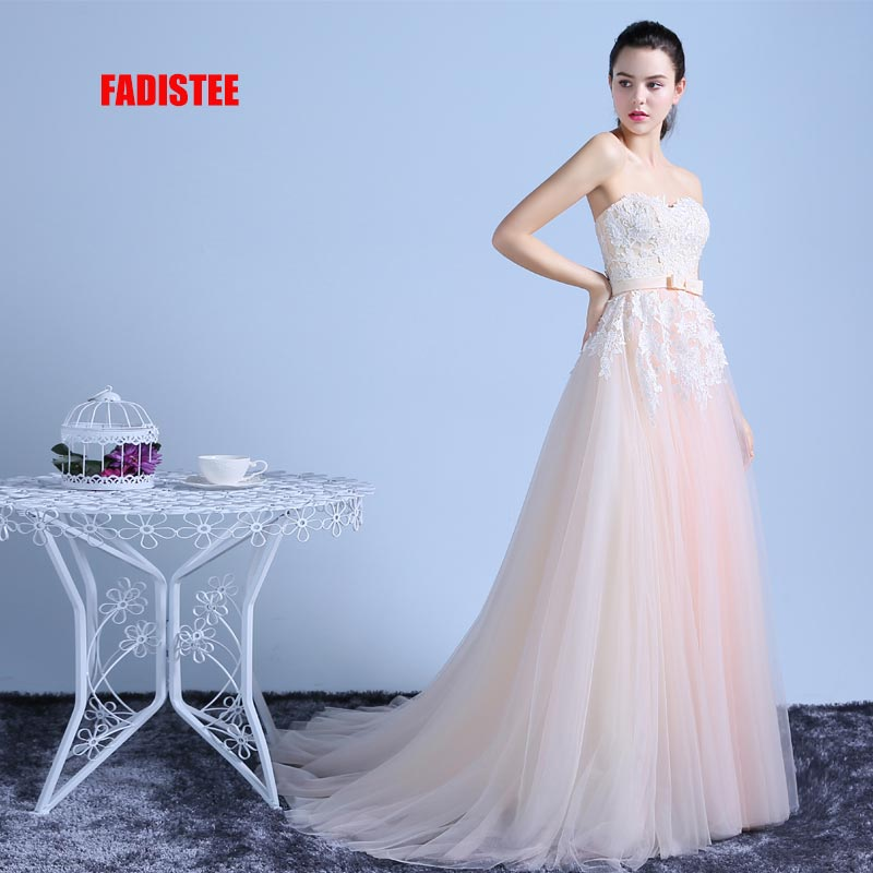 FADISTEE New arrival classic party   dress     evening     dress   Vestido de Festa luxury satin gown sexy strapless A-line long lace style