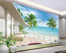 beibehang Custom personality wallpaper super beautiful sea view 3D TV backdrop decorative painting for walls 3 d