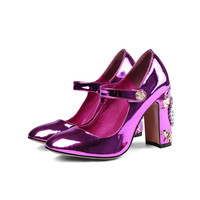Prova perfetto Sexy Mary Janes Patent Leather Women Pumps Chunky High Heels Crystal Clock Embellished Wedding Shoes Stiletto