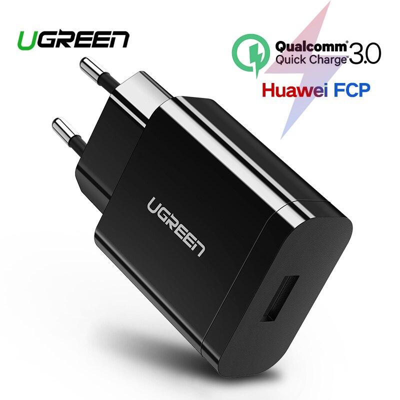 Cargador USB Ugreen 18 W cargador de teléfono móvil 3,0 para iPhone cargador rápido QC 3,0 para Huawei Samsung galaxy S9 + S10
