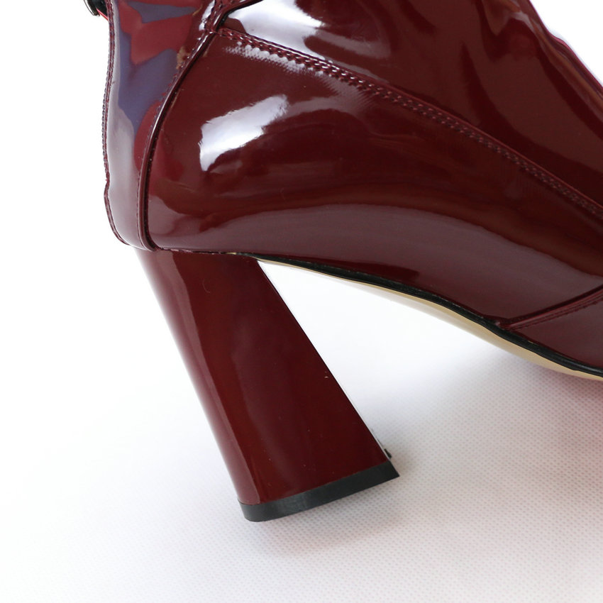 4197afef2 QUTAA Burgundy Pointed Toe PU Patent Leather Women Shoes Zipper ...