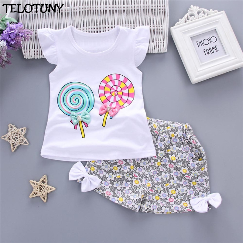 2018 2PCS Toddler Kids Baby Girls Outfits Lolly T-shirt Tops+Short Pants Clothes Set 2016 new toddler kids baby girls clothes toddler kids t shirt tops long pants trousers 2pcs outfit clothing set