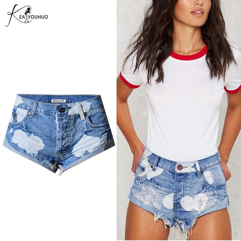 Fashion Women Jeans Shorts Heart Print Ripped Tassel Washed Crimping Women Denim Shorts Pants Heart-shaped Short Feminino Blue