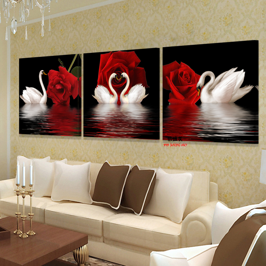 3 Panel Modern Painting Swan Rose On The Wall Modular Pictures Canvas Oil Paintings Pictures For Living Room HD Print No Frame