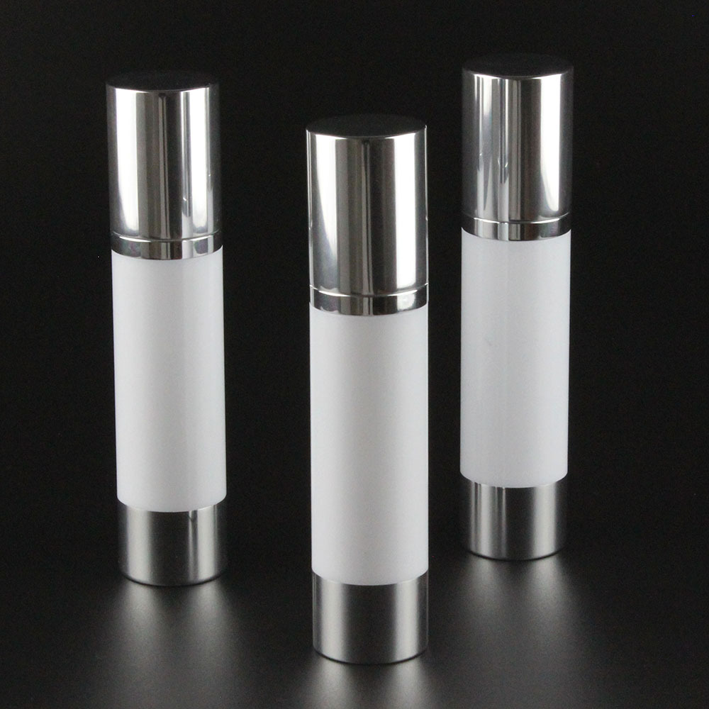 50ml White Airless Bottle White Body Shiny Silver Pump
