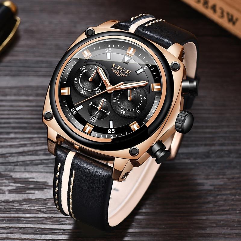 LIGE New Mens Watches Top Brand Luxury Chronograph Men Watch Leather Waterproof Sport Male Clock Man Wristwatch