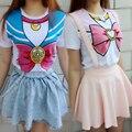 Японский Harajuku Мультфильм Sailor Moon футболка Сейлор Лук Меркурий Марс Юпитер Венера Футболка Новый Бесплатная Доставка