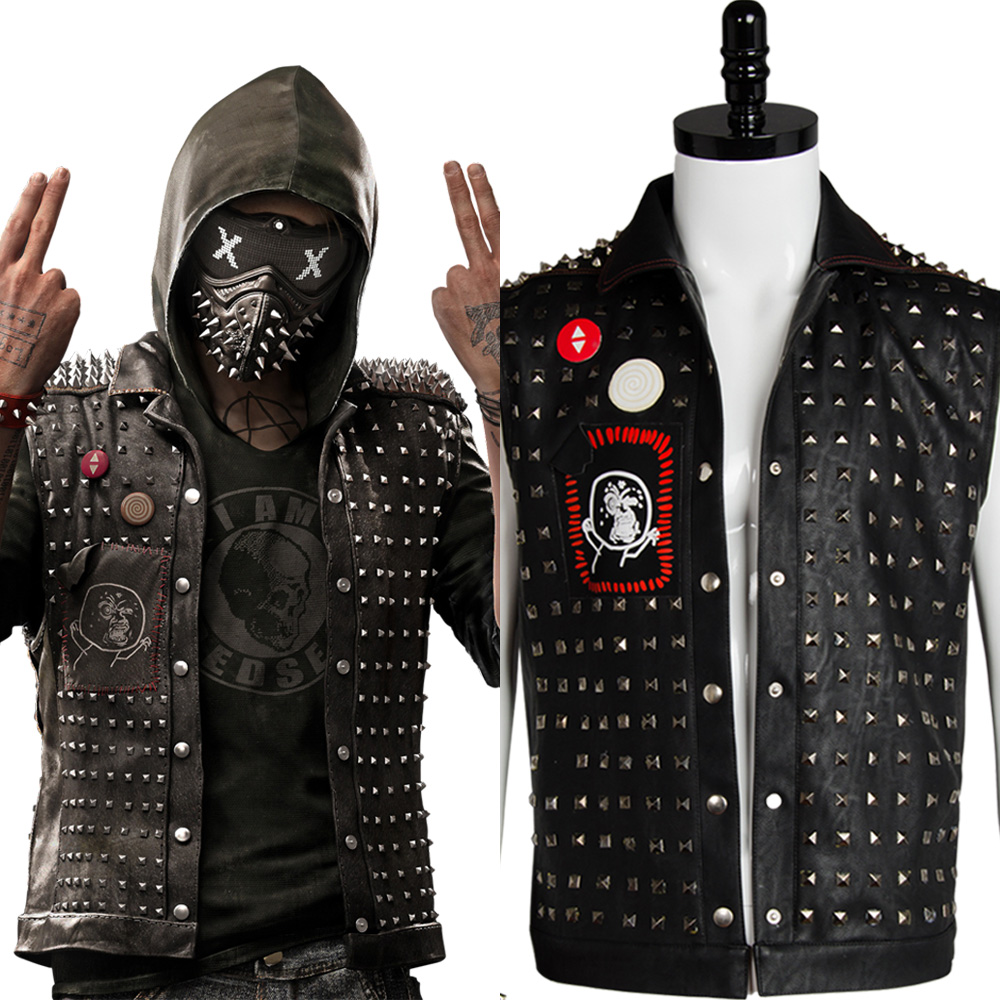 Watch Dogs 2 Wrench Cosplay Vest Costume Black Faux Leather Dedsec Jacket Vests