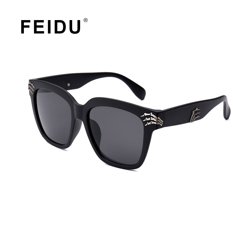 FEIDU 2016 New Fashion Finger Skeleton Sunglasses Retro glasses Brand designer Metal Frame Glasses Drive font