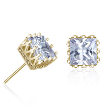 Crown Hollow Square Zircon Crystal Earrings Wholesale Men And Women Couple Jewelry Gifts Accessories