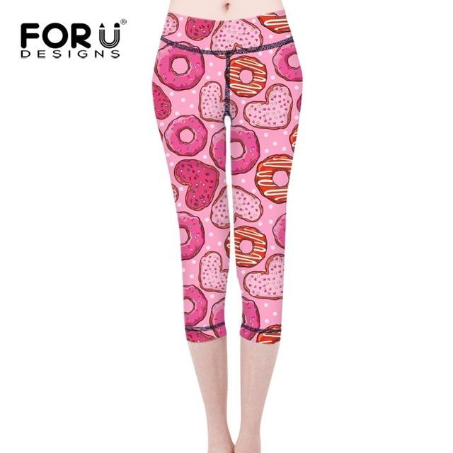 2dfadc3ec15f92 FORUDESIGNS Leggings Womens Sweet Heart Donut Print Pink Purple Spandex Leggings  Pants Girls Legging Feminino Ropa Mujer Jegging