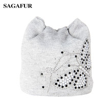 Caps Women's Winter Beanie Hat With Ear Rhinestone Pearl Butterfly Knitted Hat Female Fashion Eleglant Skullies Bonnet For Girls(China)
