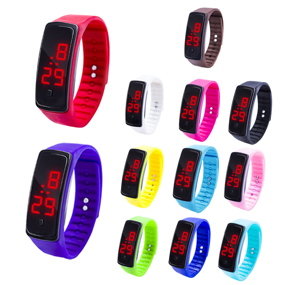 купить 12 Colors New Fashion LED Sports Running Watch Date Rubber Bracelet Digital Wrist Watch Sports Watch Womens Mens Fitness Watch W по цене 47.6 рублей