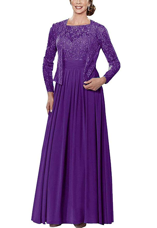 Women's Lace Mother Of The Bride Dresses Chiffon Pleated Formal Gowns With Jacket Vestido Mae Da Noiva