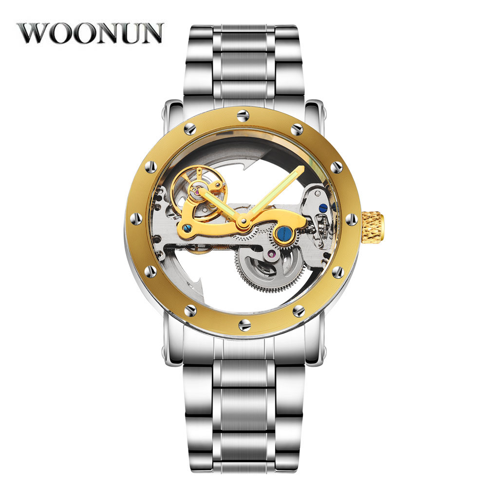 цена WOONUN Luxury Brand Mechanical Watches Men Transparent Hollow Dial Tourbillon Automatic Mechanical Watch Waterproof Relogio