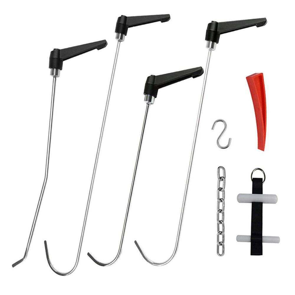 pdr Rods Tools Car Dent Repair Kit Rotating Handle Rod with Red Wedge Adjustable Door Strap S Hook for Car Dents Hail Damage