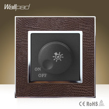 Hot Sale Wallpad Luxury 500W Dimmer Wall Switch Goats Brown Leather Rotary Lamp Dimmer Regulate Wall Switch Free Shipping(China)