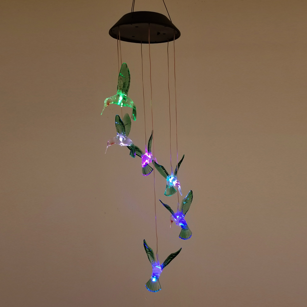 Outdoor LED Solar Hummingbirds Lamp Rechargeable Wind Chime Garden Hanging Light
