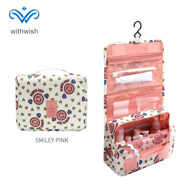 Waterproof Foldable Toiletry Bags High Quality Polyester Hook Hanging Women Cosmetic Bags for Make Up 6 Colors Makeup Handbag