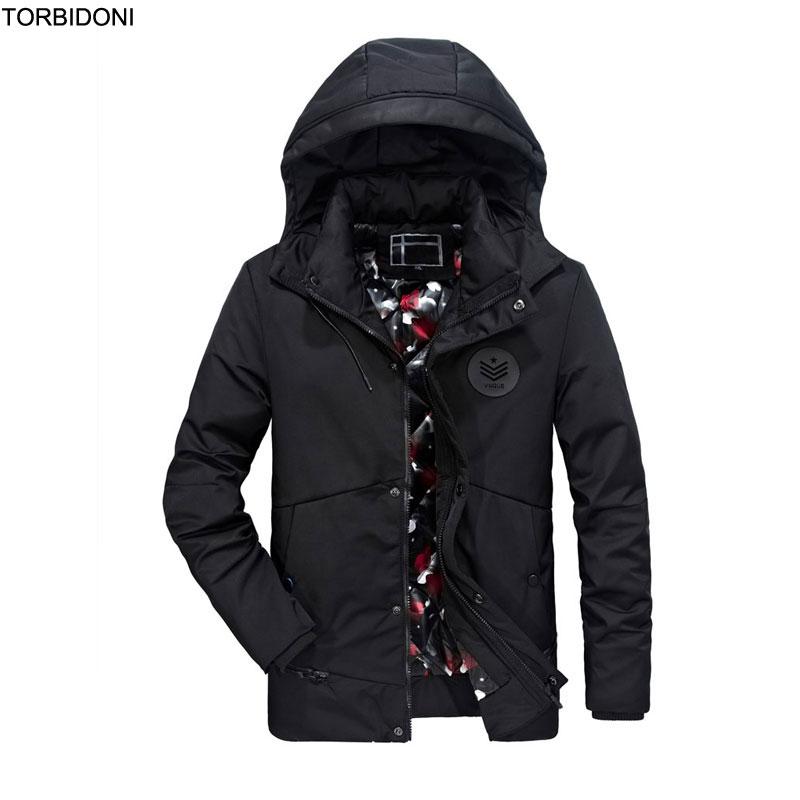 Winter Jacket Men Thick Warm Coat Fashion Casual Parka Jaqueta Masculina Inverno Detachable Hat Hooded Overcoat Men Badge Design