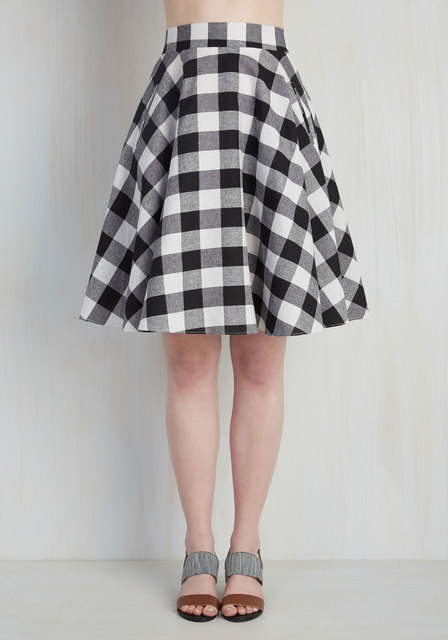 7d1ec0ef7 30- summer women vintage 50s black white plaid checked gingham swing circle  midi skirt big