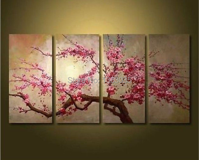 Hand painted large abstract modern cherry blossom flowers for Canvas painting of cherry blossoms