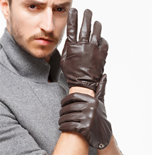 Winter Genuine Leather Gloves Men New Brand Goatskin Black Fashion Driving Touch Screen Gloves Goatskin Mittens