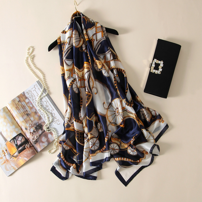 LARRIVED 2019 New Brand Silk Hijab Scarf Women Spring Summer Euro Design Silky Scarves Oversized Beach Resort Shawl For Ladies in Women 39 s Scarves from Apparel Accessories